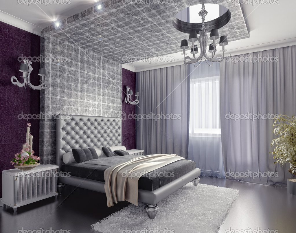 Modern style bedroom interior 3d render (DOF efffect) — Stock Photo #5780800