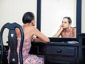 Woman & mirror — Stock Photo