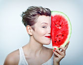 Woman and watermelon — Stock Photo