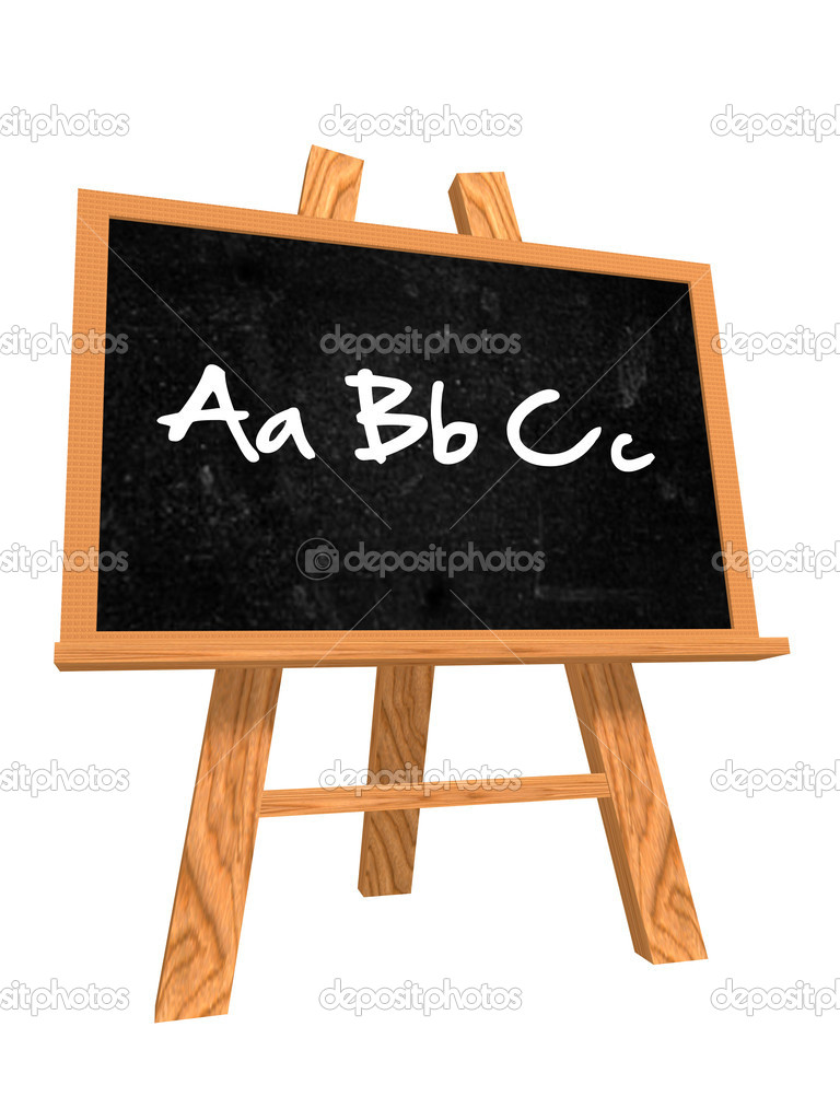 3d isolated wooden blackboard with text - abc  Stock Photo #5971638