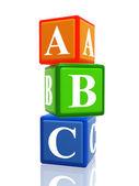 Abc color cubes heap — Stock Photo
