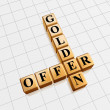 Golden offer like crossword — Stock Photo