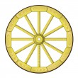 Wooden wheel from a cart — Stock Vector