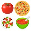 Collection Of Food Dishes With Tomatoes — Stock Vector