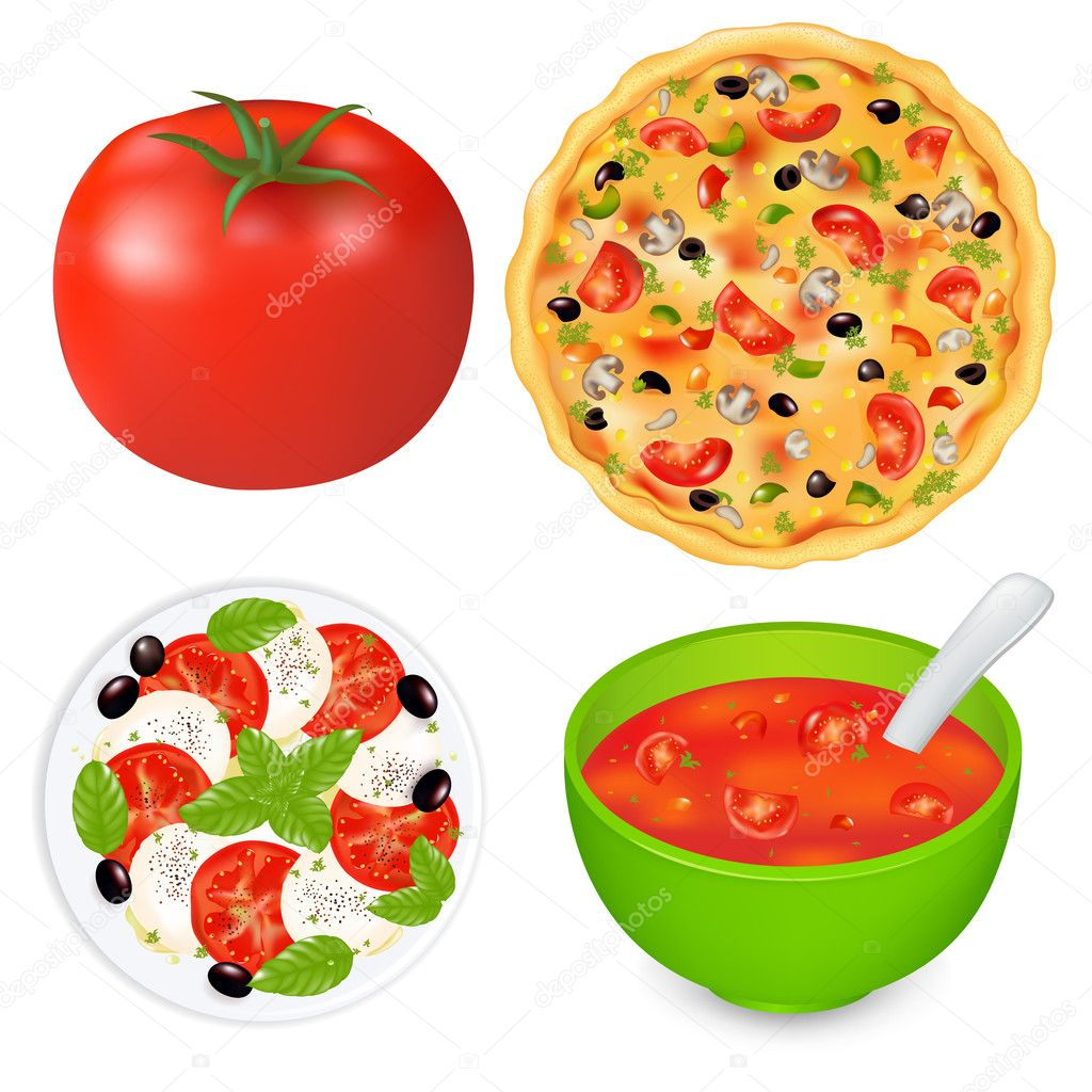Collection Of Food Dishes With Tomatoes, Isolated On White Background, Vector Illustration — Stock Vector #5433964
