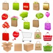 Shipping Box And Shopping Bags - Stock Vector