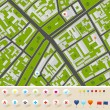 City Map With GPS Icons — Stock Vector