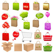 Shipping Box And Shopping Bags — Stock Vector