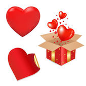 Red Gift Box And Hearts — Stock Vector