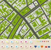 Stadsplan met gps pictogrammen — Stockvector