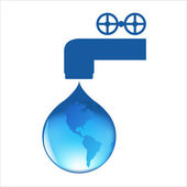 Drop Of Water With Globe — Stock Vector
