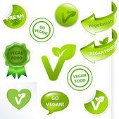 Vegan Elements Set — Stock Vector
