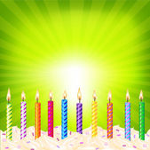 Birthday Candles On Green Background — Stock Vector