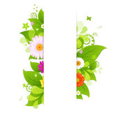 Natural Background With Leaves And Flower — Stock Vector