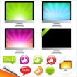 Stock Vector: Monitor Icons