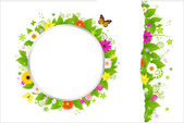 Circle And Border From Flowers — Stock Vector