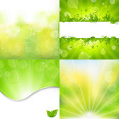 Nature Backgrounds Set — Stock Vector