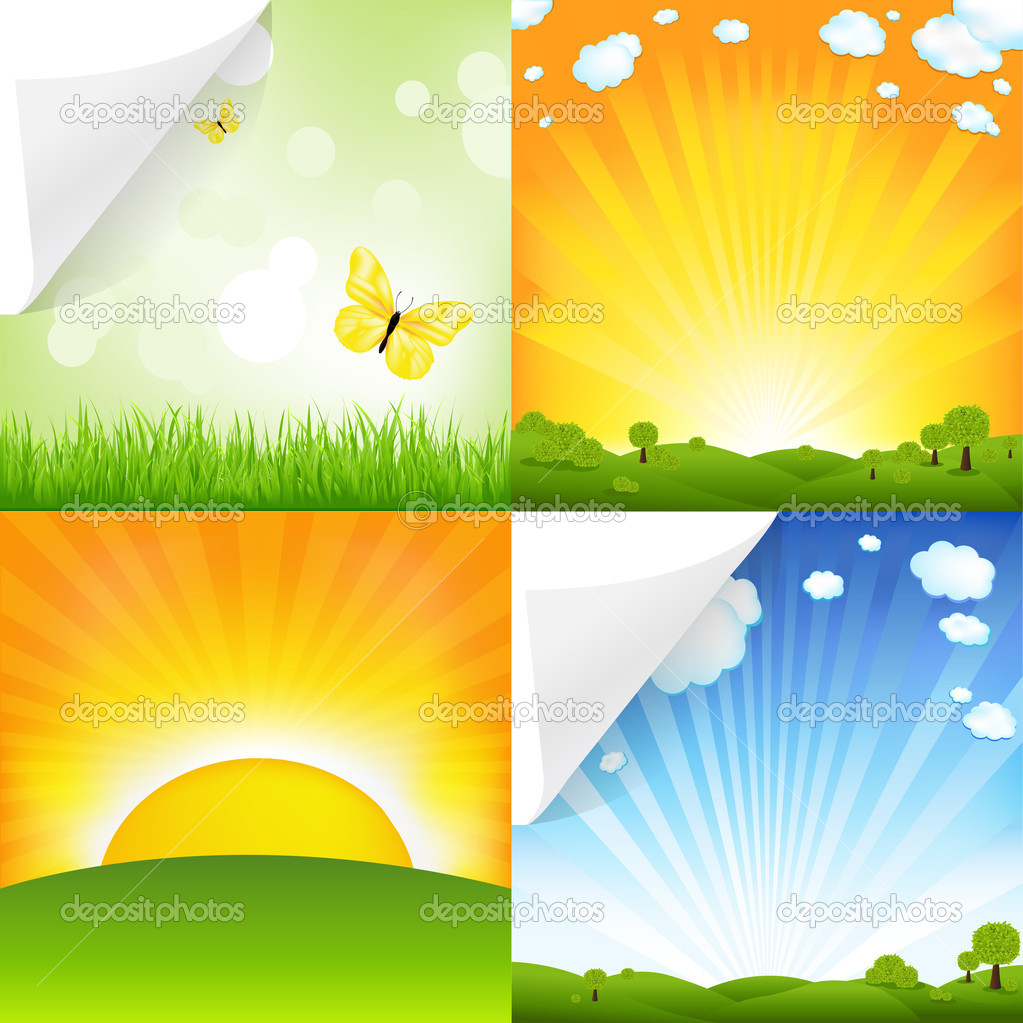 Collection Of Landscapes, Vector Illustration — Stock Vector #5710056