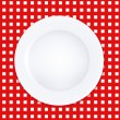 White Plate On Checkered Tablecloth - Stock Vector