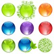 Glossy Globes Set — Stock Vector