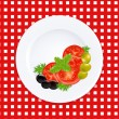 White Plate With Tomatoes Olives And Fresh Herbs - Stock Vector