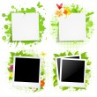Blank Note Papers And Photos With Green Blot — Stock Vector