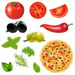Set Of Products With Pizza - Stock Vector