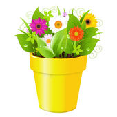 Pot With Grass And Flowers — Stock Vector