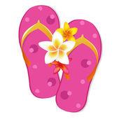 フリップフ ロップ サンダル プルメリアの花を持つ — ストックベクタ