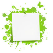 Carta nota bianco con macchia verde — Vettoriale Stock