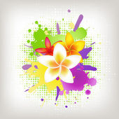 Background With Plumeria And Blots — Stock Vector