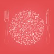 Restaurant Icons In Form Of Sphere — Stock Vector
