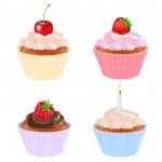 Cupcake Set — Stock Vector