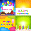 Stock Vector: Happy Birthday Card Set