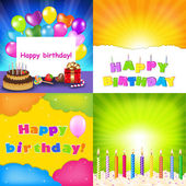 Happy Birthday Card Set — Stock Vector