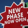 Stock Photo: Realty Sign New Phase Open