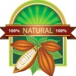 Label with cocoa beans 100% natural product — Stock Vector #6224378