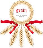 Stylized ears of wheat, label — Stock Vector