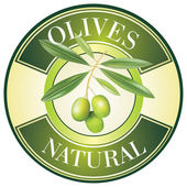 Label for product. Olive oil. Green olives. — Stock Vector