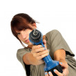 Girl with drill — Stockfoto