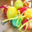 Easter Festive Painted Eggs and Candles - Foto de Stock