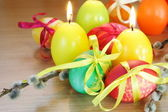 Easter Festive Painted Eggs and Candles — Stock Photo