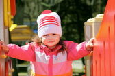 Little Girl Exploring Playground — Stock Photo