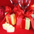 Stok fotoğraf: Romantic Setting with Candles and Glasses