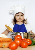 Young Smiling Girl Ready to Cook — Stock Photo
