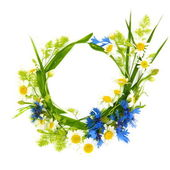Floral Round Frame of Flowers — Stock Photo
