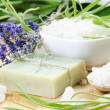 Herbal Soap with Salt and Herbs — Stock Photo