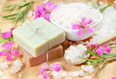 Spa Herbal Soap and Scented Sea Salt — Stock Photo