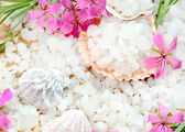 Scented Sea Salt with Flowers — Stock Photo
