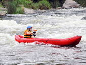 Young Man in Raft on White Water — Stock Photo